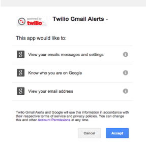 Gmail OAuth Permission Dialog