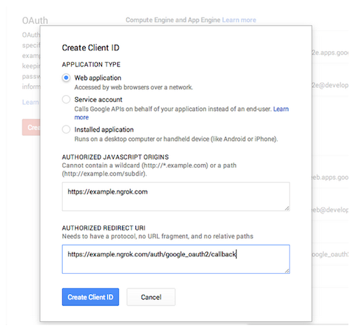 Google Developer Console - New app API settings