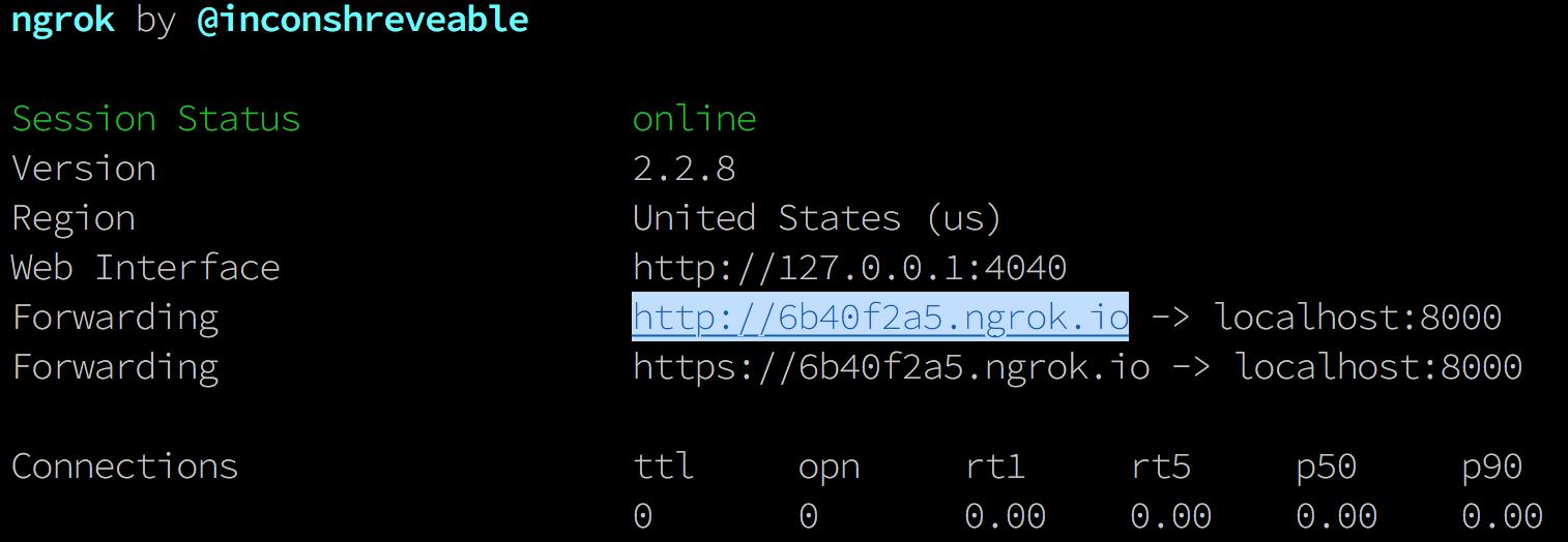 Ngrok forwarding URL for Hacker News headline app