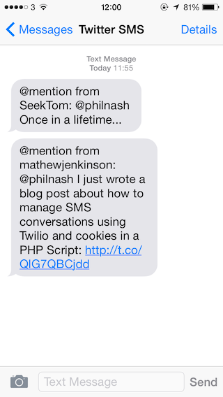 Once the app is running, you should receive @mentions by SMS