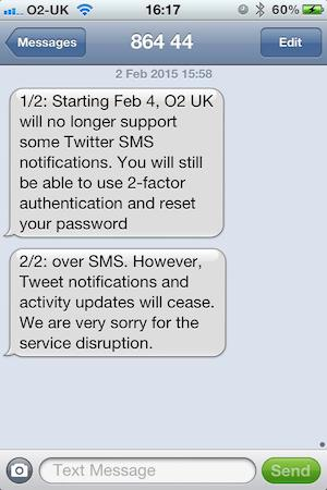 O2 will stop supporting SMS notifcations by SMS