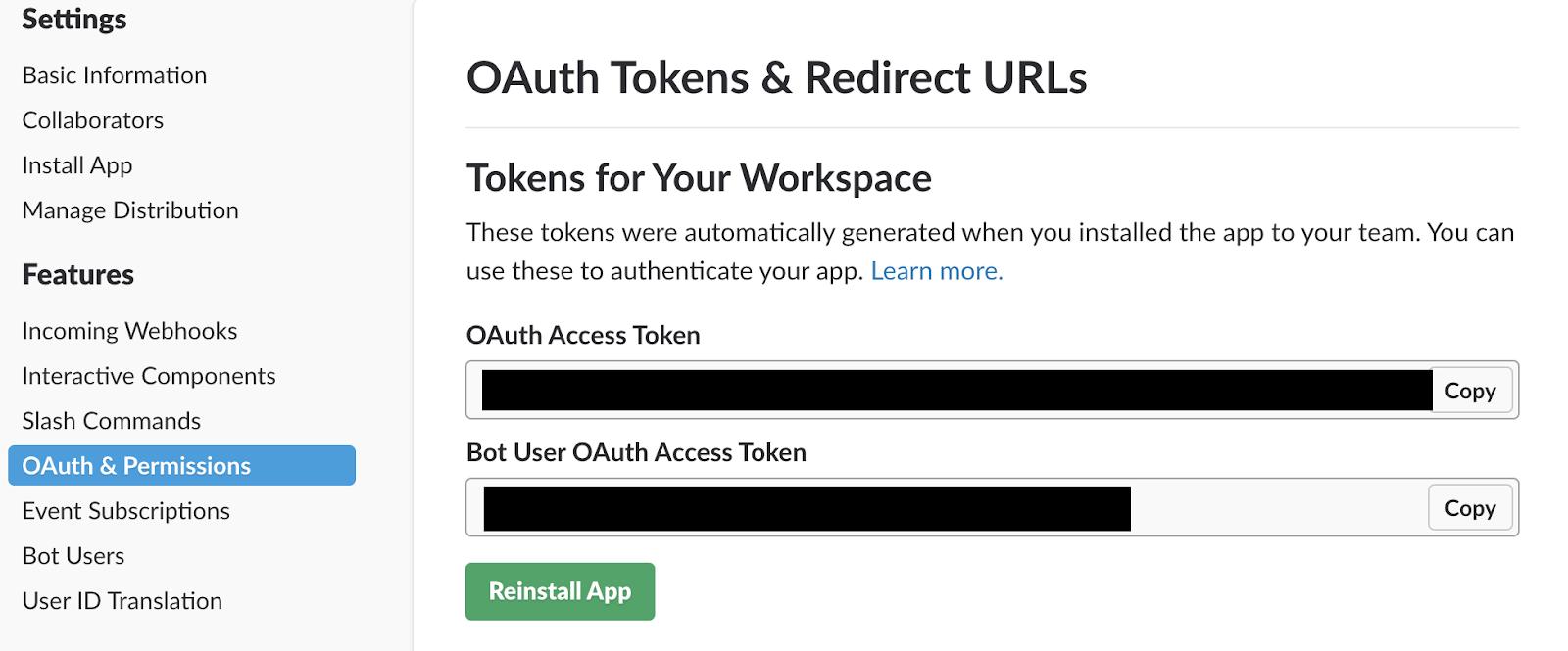 OAuth user tokens for the Python Slack Bot
