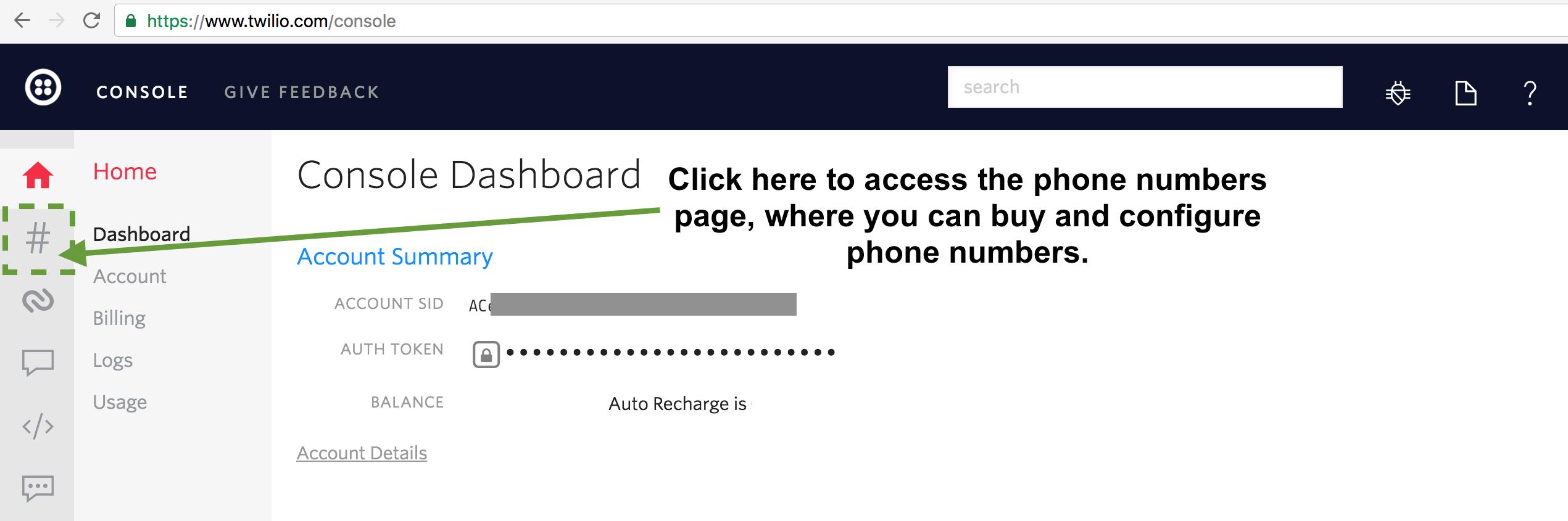 Twilio Console left nav phone numbers screen.