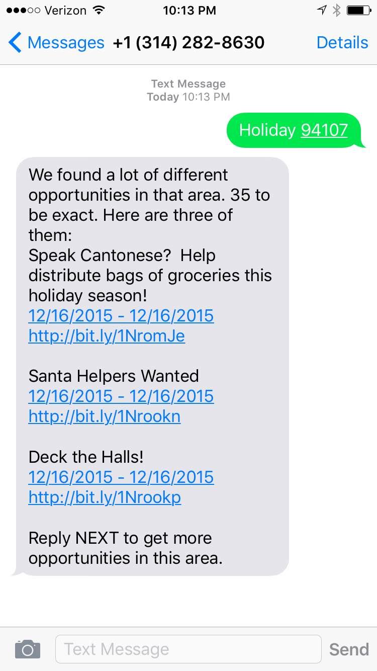 Find Volunteer Opportunities using Twilio, VolunteerMatch and ASP