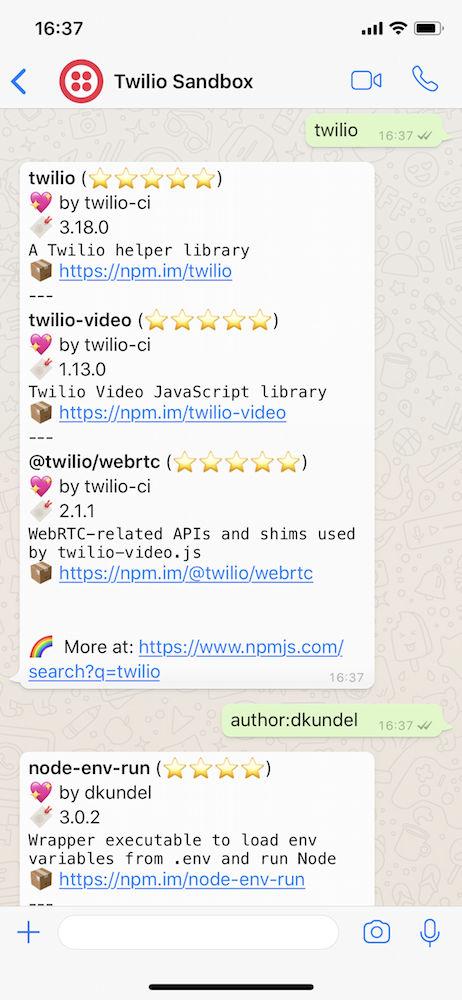 Building an npm search bot with WhatsApp and Twilio - Twilio