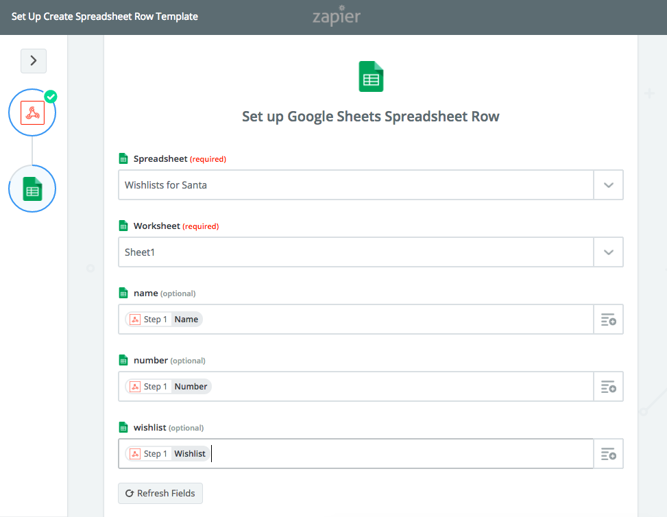 google spreadsheet row setup with twilio studio