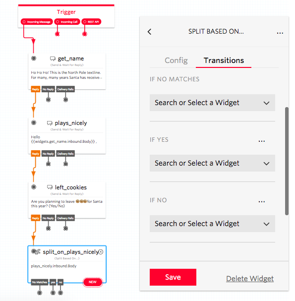 split widget added in twilio studio