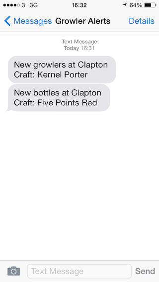 Two messages alerting me about two new beers from the test.