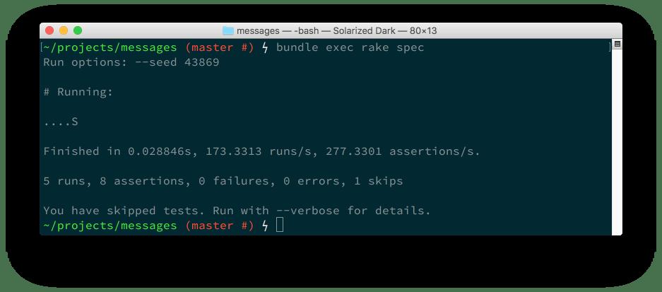5 runs, 8 assertions, 0 failures, 0 errors.