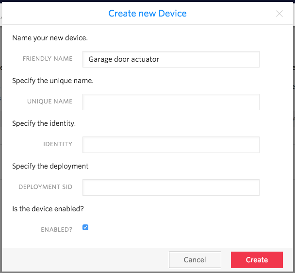 Creating a device in Twilio Sync for IoT