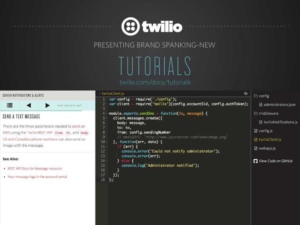 Tutorials: The New Documentation Experience From Twilio - Twilio