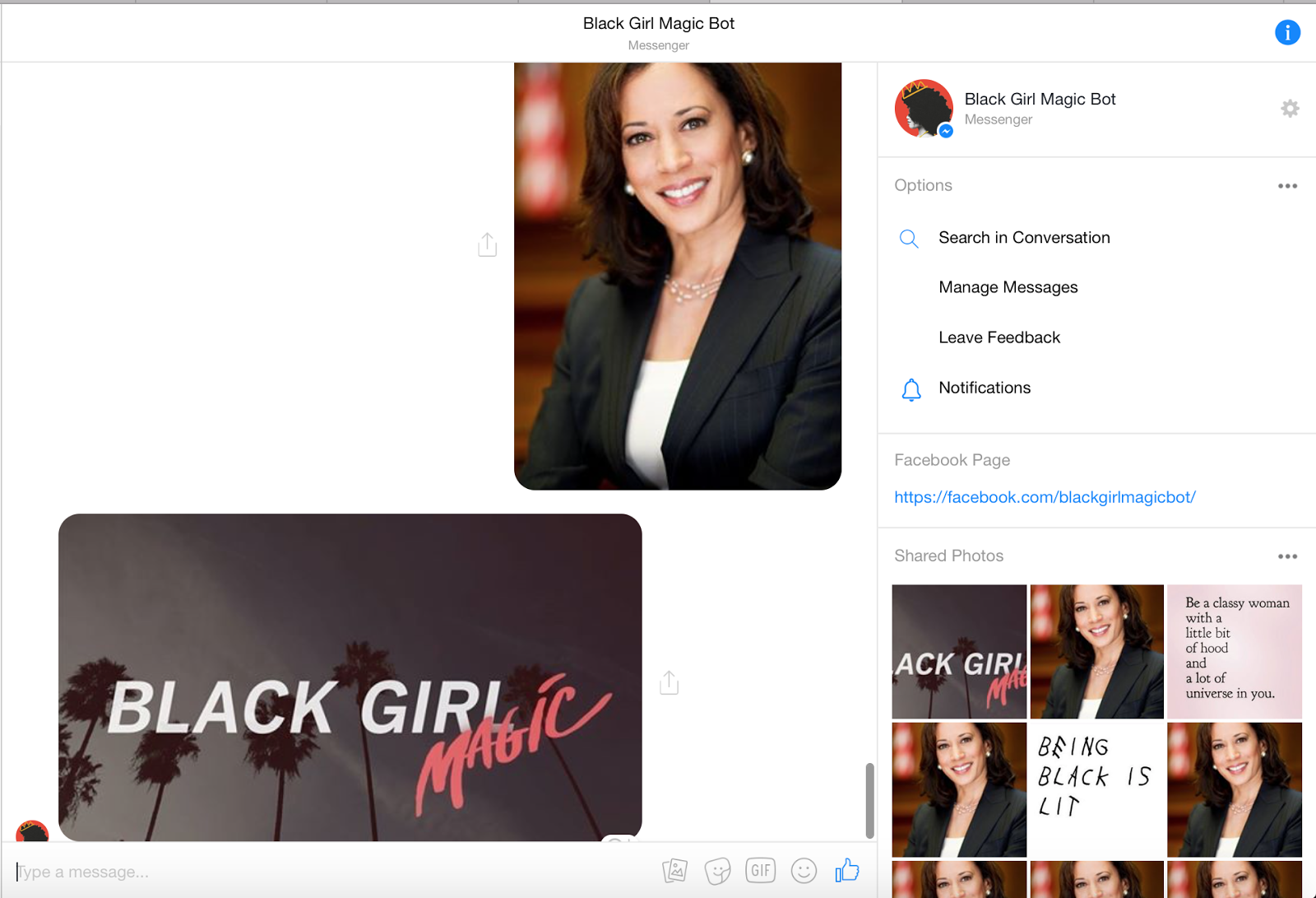 Black Girl Magic Facebook Messenger bot