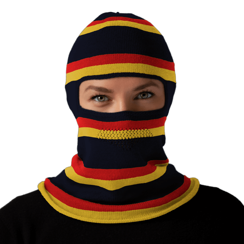 Stripe navy yellow red balaclava