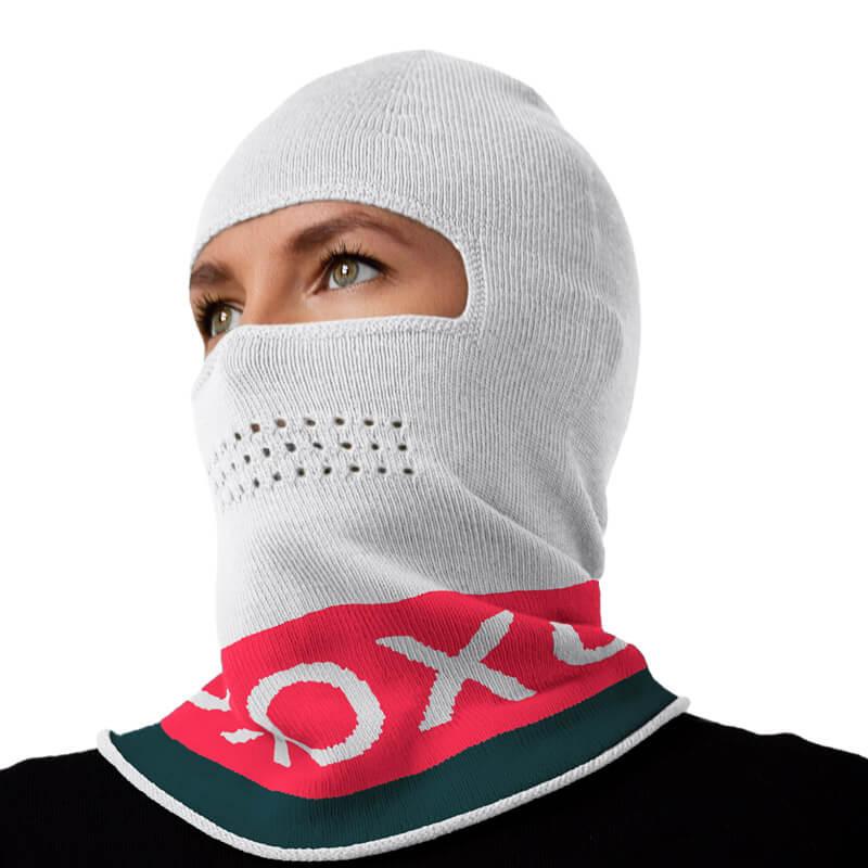 Xoxo white pink teal balaclava