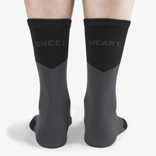 Altas gray and black sweet hear socks