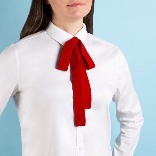 Bright red merino wool bow