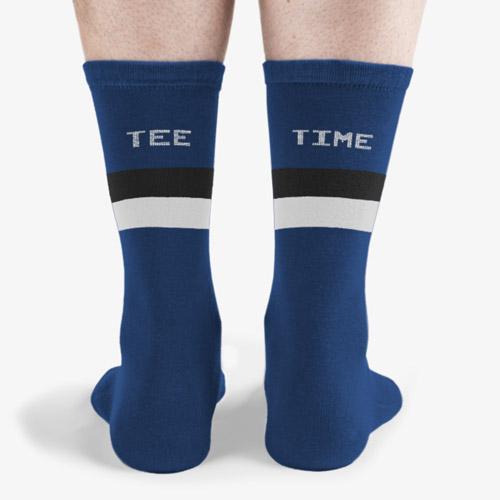 National royal white and navy tee time socks