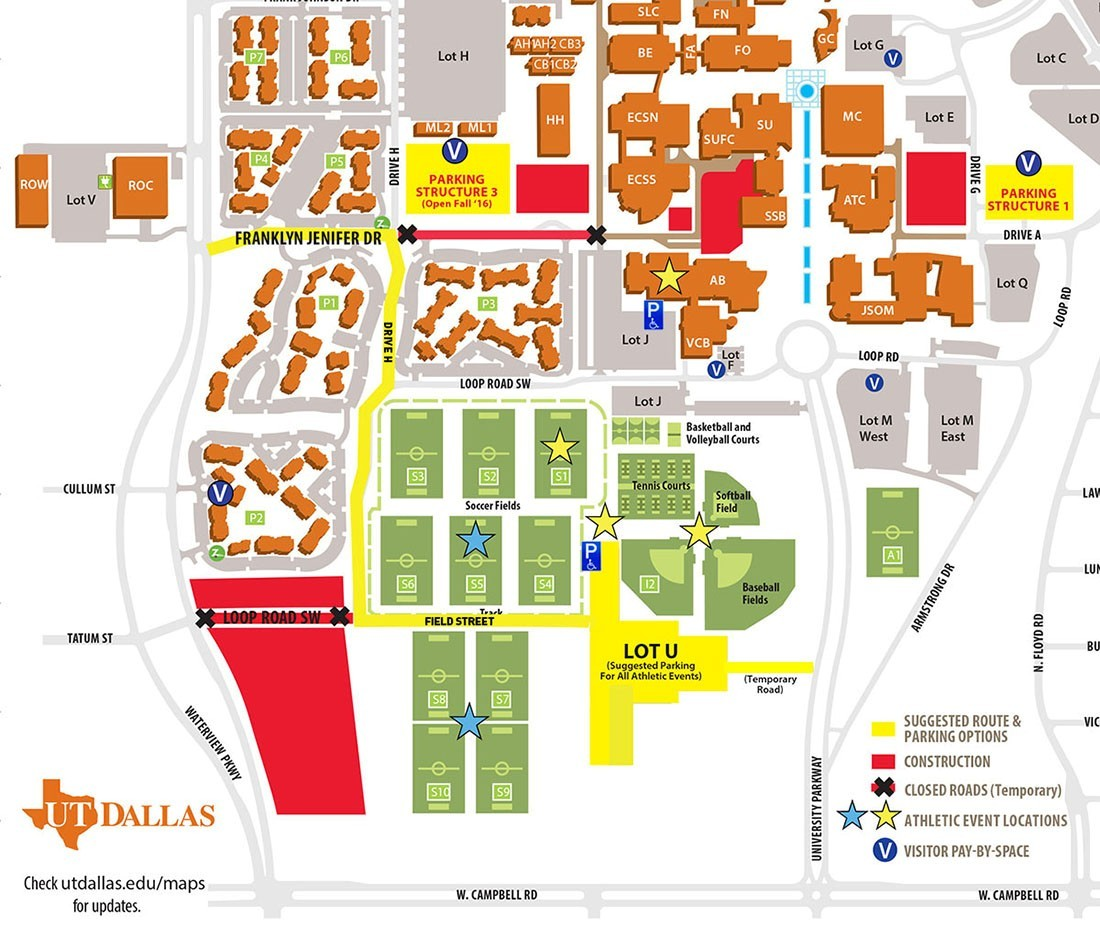 UT DALLAS ATHLETIC EVENT VISITORS\' PARKING INSTRUCTIONS - University ...