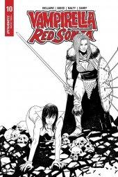 Vampirella / Red Sonja #10 1:10 Moss B&W Cover