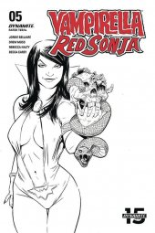 Vampirella / Red Sonja #5 1:10 Moss B&w Cover
