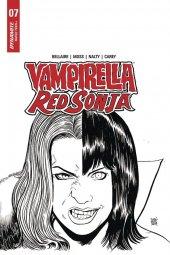 Vampirella / Red Sonja #7 1:10 Moss B&w Cover