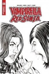 Vampirella / Red Sonja #8 1:10 Moss B&w Cover