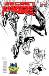 Secret Wars #1 Midtown Exclusive J Scott Campbell Black & White Variant
