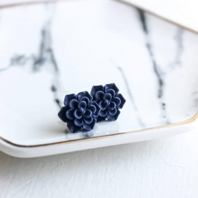 Fall Navy Succulent Stud Earrings