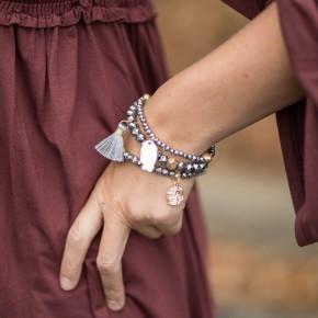 Shimmering  Beaded Charm Bracelet