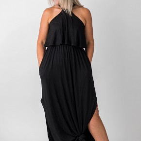 Long Black Train Maxi