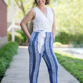 Navy & White Aztec Jumpsuit