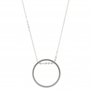 Long Silver Plated Necklace w/ Silver Circle
