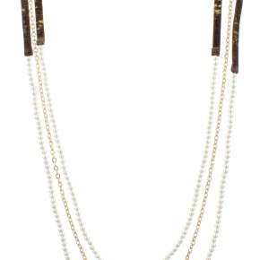 Gold Fleck Long Leather Necklace w/ Pearl Beads