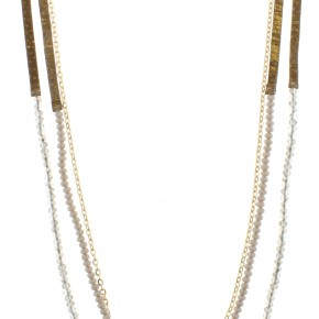 Gold Fleck Long Leather Necklace w/ Grey Beads