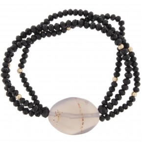 Jet Black Stretch Bracelet w/ Grey Stone