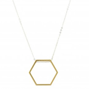 Long Silver Plated Necklace w/ Gold Hexagon