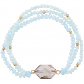 Light Blue Stretch Bracelet w/ Black Diamond Crystal