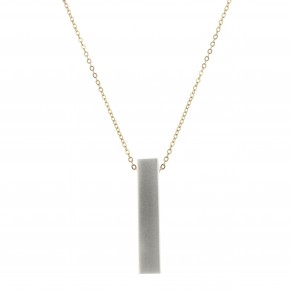 Long Gold Plated Necklace w/ Silver Rectangle