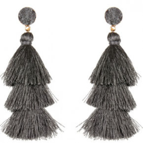 Druzy Post Tassel Drop Earrings