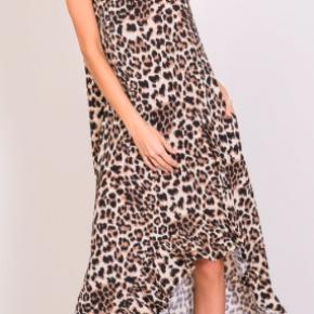 animal print sleeveless hi-low ruffle dress