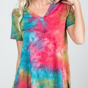 Short Sleeve V-neck MultiColor Tie Dye Print Top
