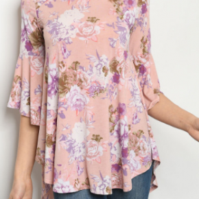 Blush Floral Top w/Flutter Sleeves