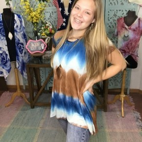 blue and brown tie dye tunic
