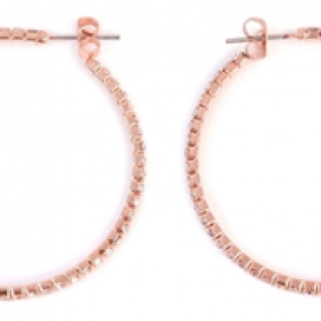 "Rose Gold Rhinestone 1.57"" Hoop Earrings"