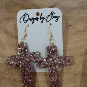 rose and silver cross earrings