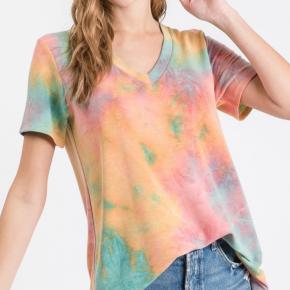 Orange Short Sleeve V-Neck Tie Dye Print Top