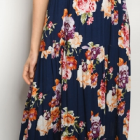 Long Navy Floral Sleeveless Dress