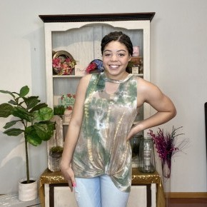 green tie dye top with keyhole