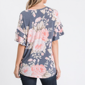 Short Ruffled Sleeve Round Neck Round Hem Floral Print Top