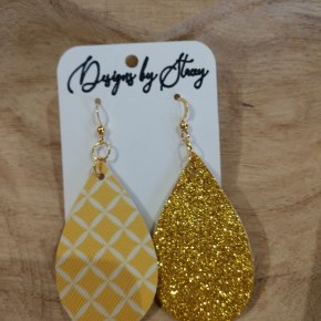 yellow glitter leather earrings